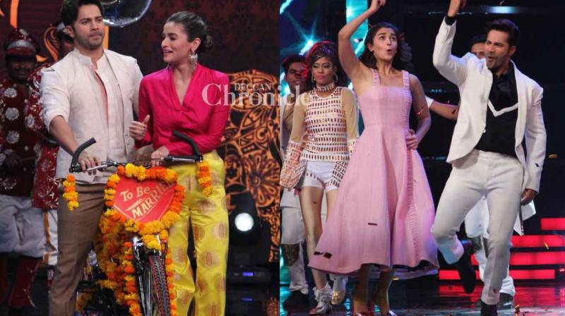 Varun Dhawan and Alia Bhatt were seen on the sets of the reality shows 'Indian Idol' and 'The Voice India' on Tuesday to promote their film 'Badrinath Ki Dulhania.' (Photo: Viral Bhayani)