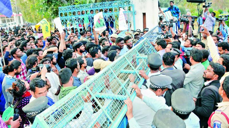 Image result for Protests rocked on University of Hyderabad campus