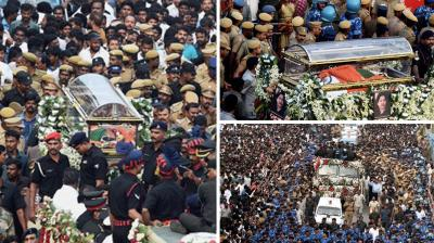 Hundreds of thousands of people thronged to Chennai on Tuesday to pay their last respects to Tamil Nadu's late beloved leader, Jayaram Jayalalithaa. Draped in her favourite green colour saree, Jayalalithaa's body was put in a sandalwood casket and was taken to Marina beach, where she was laid to rest.