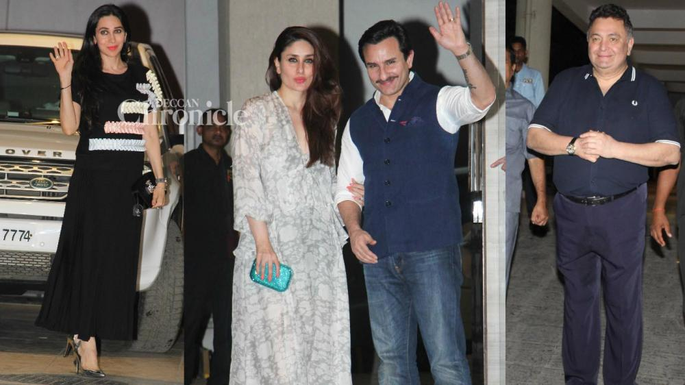 Kareena Kapoor Khan and Karisma Kapoor celebrated their mother Babita Kapoor's birthday with other members of the Kapoor family and relatives late Wednesday. (Photo: Viral Bhayani)