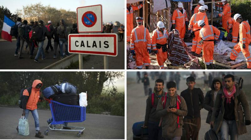 """French workers escorted by riot police on Tuesday began tearing down shacks and tents in the Calais """"Jungle"""" vacated by migrants who have been bussed to shelters around the country."""