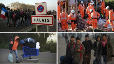 French workers escorted by riot police on Tuesday began tearing down shacks and tents in the Calais