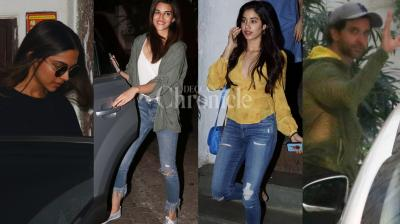 Bollywood celebs like Deepika Padukone, Hrithik Roshan, Jhanvi Kapoor, Kriti Sanon and others were spotted in the city. (Photos: Viral Bhayani)