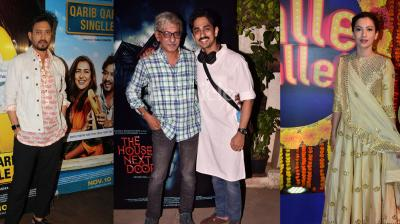 Bollywood celebs spotted at the film screenings: Irrfan Khan, Parvathy, Deepak Dobriyal with Gulshan Devaiah at Qarib Qarib Singlle preview, Actor Siddharth at his film preview, Gauhar Khan and Arshad at Balle Balle show. (Photos: Viral Bhayani)