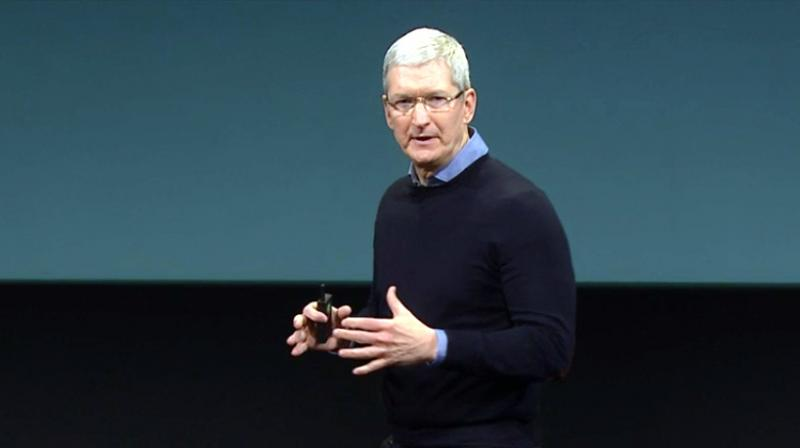 Apple CEO Tim Cook on stage at a keynote event