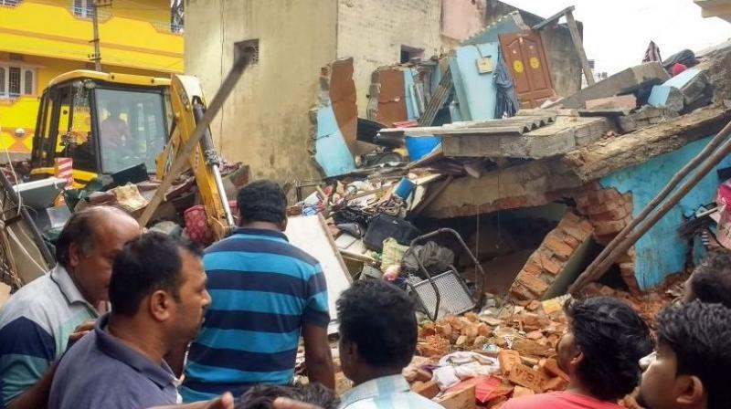 Portion of a residential building collapsed in Ejipura area
