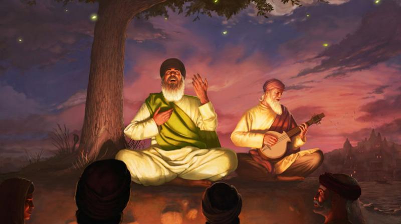 Guru Nanak Dev – Shabad Vichar :The artist show Guru Sahib smiling which represents bliss while singing kirtan. (Photo: Bhagat Singh)