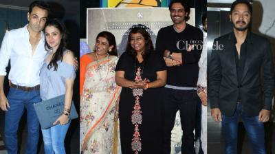 With the films up for release on Friday, the teams of 'Daddy' and 'Poster Boys' held screenings for Bollywood stars and others in Mumbai on Thursday.