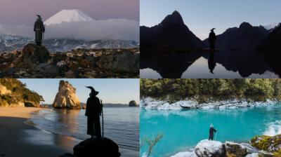 Creative photographer Akhil Suhas decided on using Gandalf as he was watching the Lord of the Rings series when looking for a theme for his holiday in New Zealand. He chose random people around to dress in the costume and be his subject in the photos. (Photos: Instagram/AkhilSuhas)