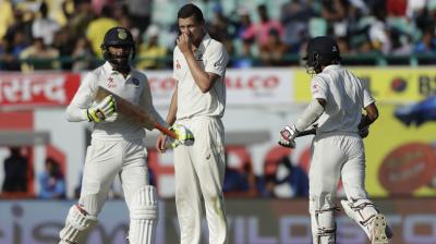 Wriddhiman Saha and Ravindra Jadeja have continued to trouble Australia as India move past Australia's first-inning total on Day 3 of the fourth Test in Dharamsala. (Photo: AP)