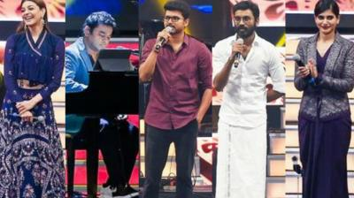 The audio of Tamil superstar Vijay's film 'Mersal' was launched in a grand event in Chennai on Sunday, which was attened by several stars from the film industry. (Photo: Twitter)