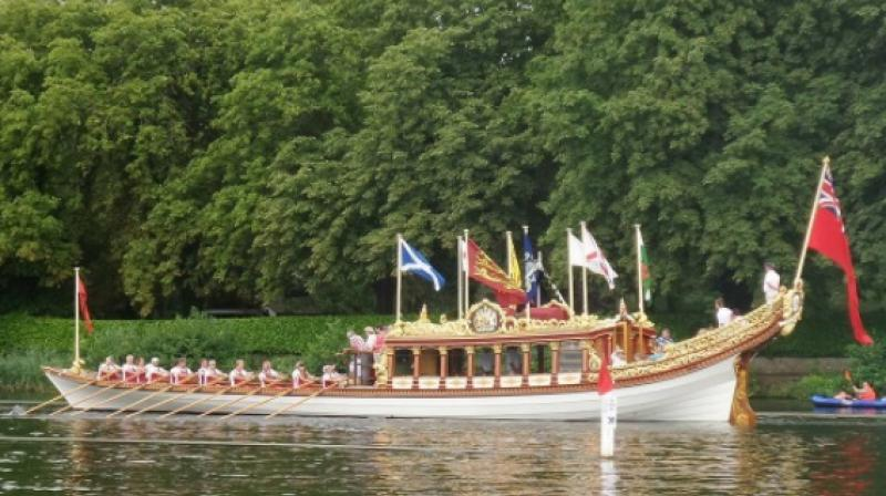 "Queen Elizabeth II's stately royal barge ""Gloriana"".  (Photo: Instagram / judith_plumduff)"