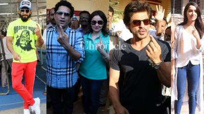 Numerous celebrities were spotted at various areas in Mumbai on Tuesday as they stepped out to vote for the BMC elections. (Photo: Viral Bhayani)