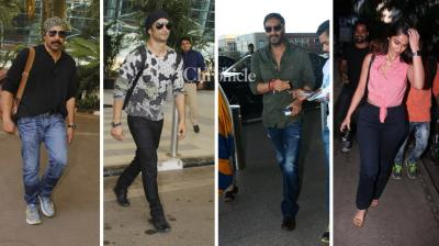 Bollywood celebrities like Ajay Devgn, Sushant Singh Rajput, Sunny Deol, among others were snapped at the airport while Ileana D'Cruz was also snapped as she stepped out on Monday and Tuesday. (Photo: Viral Bhayani)