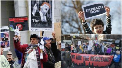 Thousands of protesters turned out Monday across the US to challenge Donald Trump in a Presidents Day protest dubbed Not My President's Day. (Photos: AP)