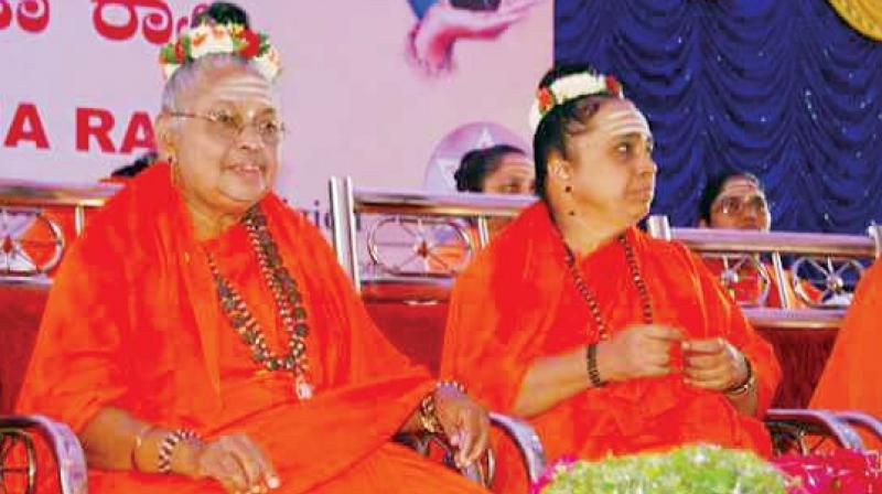 A file photo of Lingayat woman seer Mathe Mahadevi at a programme