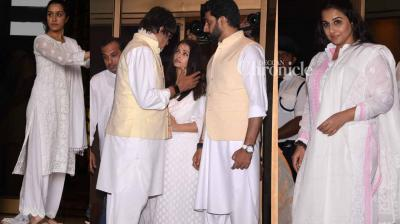 Several Bollywood stars arrived for a prayer meet held in memory of Aishwarya Rai Bachchan's late father Krishnaraj Rai who passed away recently in Mumbai. (Photo: Viral Bhayani)