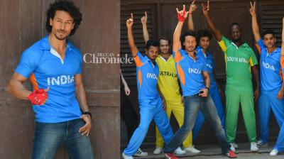 Tiger Shroff shot for a promotional video in Mumbai on Wednesday for the Champions Trophy tournament that is set to begin on the June 1 in England. (Photo: Viral Bhayani)