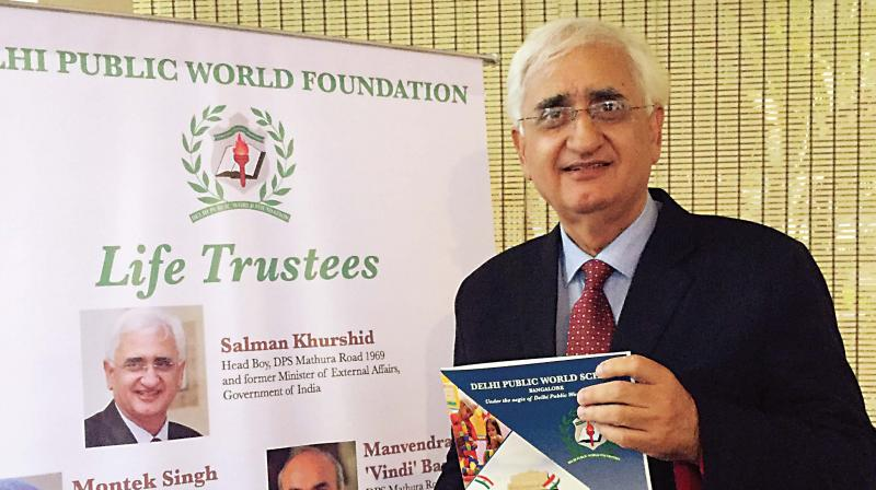 Life trustee of the Delhi Public World Foundation Salman Khurshid at a function organised by the foundation in Bengaluru on Thursday. (Photo: DC)