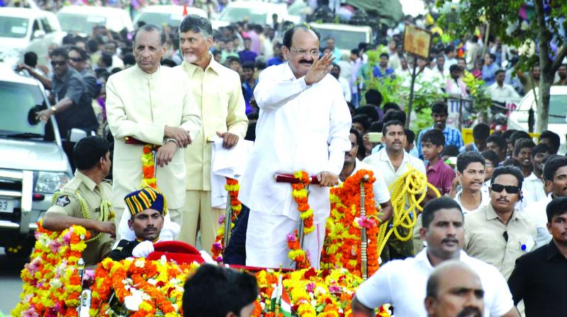 Venkaiah felicitated in Amaravati, says retired but not exhausted