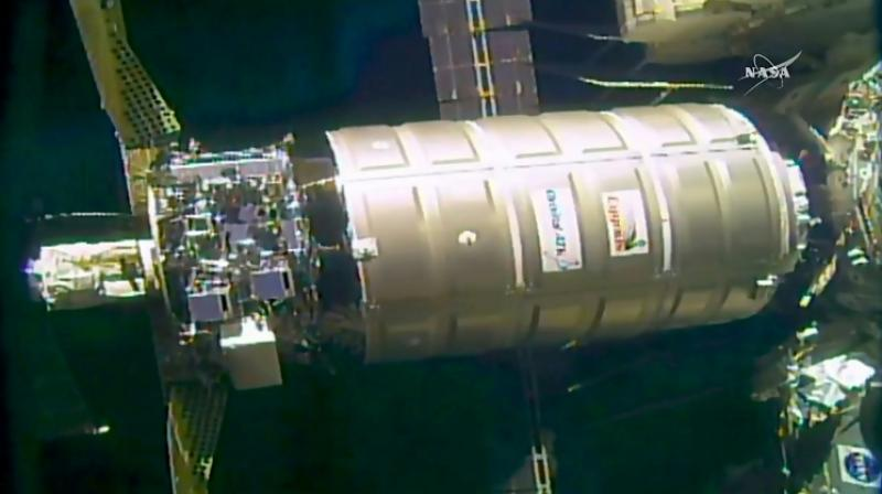 The unmanned Cygnus resupply ship operated by the US company OrbitalATK is show making a delivery to the International Space Station in October 2016 (Photo: AFP)