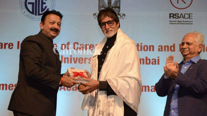 Amitabh Bachchan launched on Thursday a joint initiative between Ramesh Sippy's Academy of Cinema and Entertainment and Mumbai University for film courses. (Photo: Viral Bhayani)