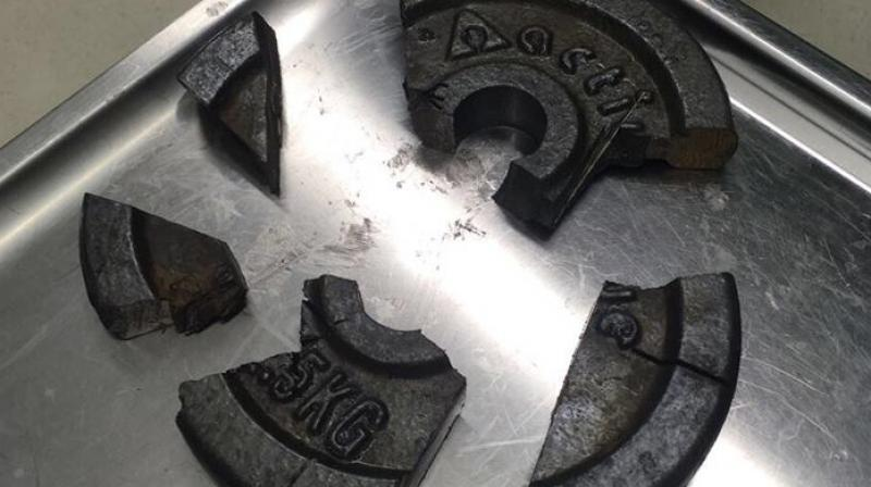 Man's penis gets stuck in 2.5kg dumbbell disc