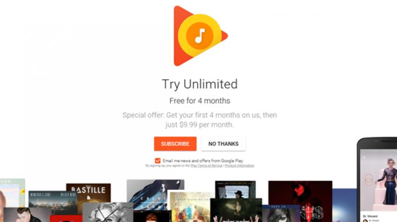 Google Play Music offers four months of free subscription service
