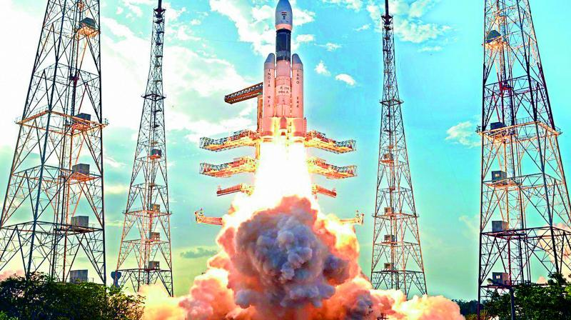 The GSLV Mk III lifts off from the Sriharikota space centre on Monday