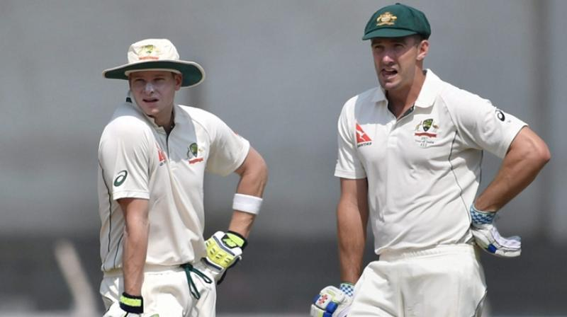 Steve Smith (L) and Shaun Marsh in action against India 'A' in Mumbai. (Photo: PTI)