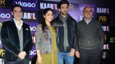 Hrithik Roshan and Yami Gautam promoted their film 'Kaabil' in Delhi on Friday. (Photo: Viral Bhayani)