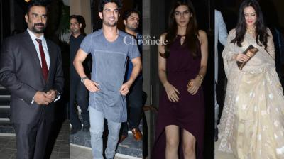 Several celebrities were spotted at a bash celebrating Sushant Singh Rajput's birthday late Friday in Mumbai. (Photo: Viral Bhayani)