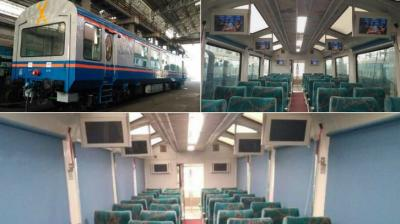The Railways on Sunday introduced a see-through Vistadome coach on its Visakhapatnam-Kirandul passenger train. (Photo: Suresh Prabhu/Twitter)