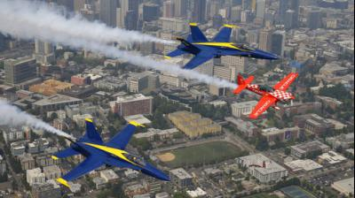 The air show began Friday afternoon with a flyover by two A-10 Warthog planes, followed by the bracing stunt devil John Klatt and his Screamin' Sasquatch Jet Waco. As usual, the Blue Angels closed the show.