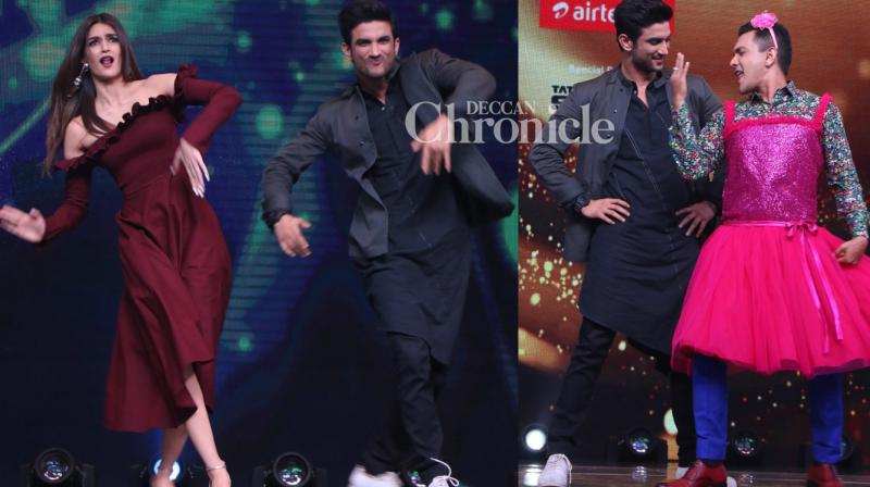 Sushant Singh Rajput and Kriti Sanon promoted their film 'Raabta' on the sets of the reality show 'Sa Re Ga Ma L'il Champs' in Mumbai on Tuesday. (Photo: Viral Bhayani)
