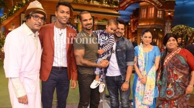 Cricketers Shikhar Dhawan, Hardik Pandya and Suresh Raina were the guests on an episode of Kapil Sharma's reality show that was shot in Mumbai on Tuesday. (Photo: Viral Bhayani)
