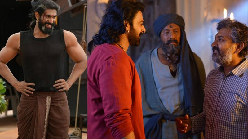 Some of the pictures of Prabhas, Rajamouli and Rana on the sets of the film. (Photo: Twitter)