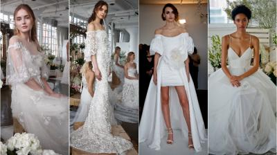 Marchesa Notte showed their fall 2018 wedding dresses at Bridal Fashion Week. (Photo: AP)