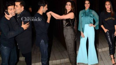The cast and crew of 'Badrinath Ki Dulhania' celebrated the success of the film with a bash attended by Bollywood stars late Thursday in Mumbai. (Photo: Viral Bhayani)