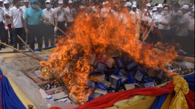 Myanmar, Thailand and Cambodia torched nearly $1 billion worth of seized narcotics on Monday, a defiant show of force as police struggle to stem the rising flow of drugs in the region.