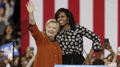 Michelle Obama, surprise star of the 2016 White House campaign, hit the trail with Democrat Hillary Clinton as the former and current first ladies fight to conquer battleground states before Election Day.