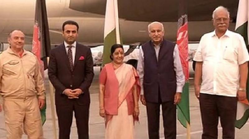 The flight, which carried 60 tonnes of cargo (mainly 'hing') from Afghanistan, was flagged off in Kabul by President Ashraf Ghani. (Photo: ANI/Twitter)