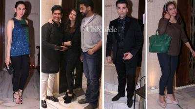 Numerous Bollywood celebrities were snapped as they arrived to celebrate fashion designer Manish Malhotra's 50th birthday bash late Sunday. (Photo: Viral Bhayani)