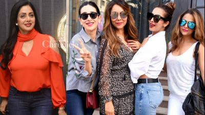 Several Bollywood stars like Sridevi, Manish Malhotra, Karisma Kapoor, Malaika Arora Khan and Amrita Arora turned up at the launch of Gauri Khan's new store in Mumbai on Tuesday. (Photo: Viral Bhayani)