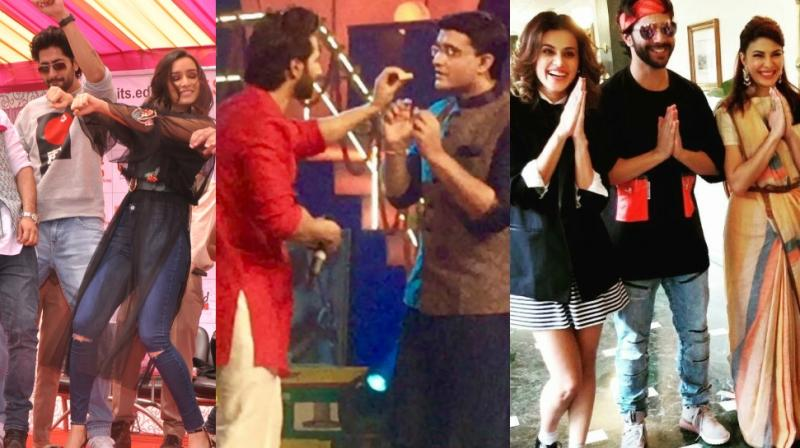 Bollywood stars were in promotion mode for their films on Tuesday with teams of 'Judwaa 2' and 'Haseena Parkar' being spotted in Kolkata and Noida respectively. (Photo: Twitter/ Viral Bhayani)