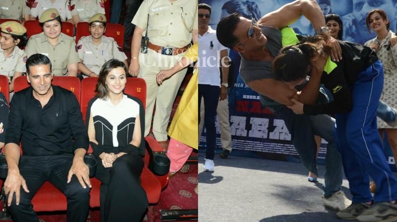 The team of 'Naam Shabana' held a screening of the film for women police officers in Delhi and also provided self-defence lessons at a girl's college in the city on Monday. (Photo: Viral Bhayani)