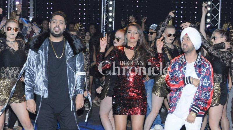 Sonakshi Sinha, Badshah, Diljit Dosanjh shot for the song 'MYL' from the film 'Noor' in Mumbai on Friday. (Photo: Viral Bhayani)