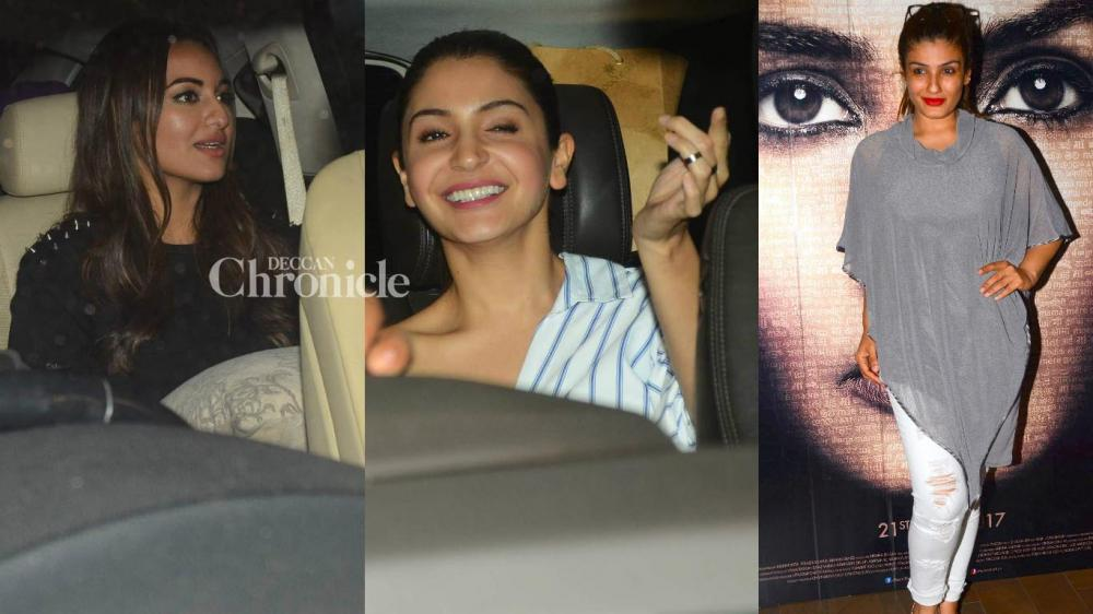 Anushka Sharma was one of the celebrities seen at a screening of Sonakshi Sinha's 'Noor' on Wednesday while Raveena Tandon was also seen at a screening of 'Maatr' which is also releasing on April 21. (Photo: Viral Bhayani)
