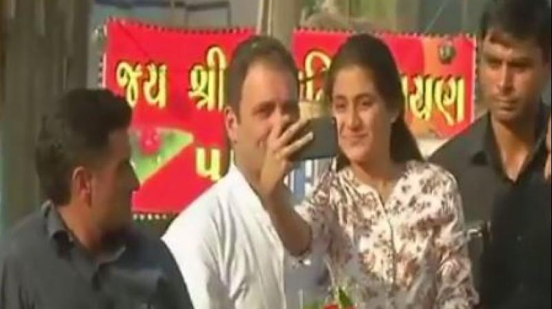 The girl, identified as Mantsha Ibrahim Sheth, a class 10 student, said Rahul Gandhi obliged after she requested him for a selfie. (Photo: Screengrab/ANI)