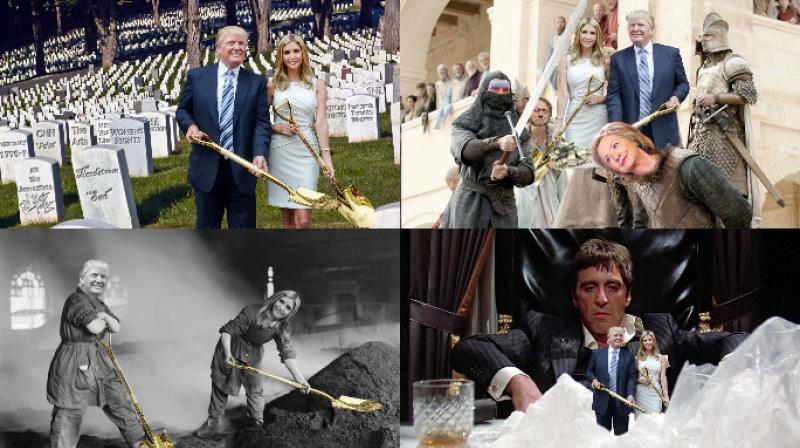 Donald Trump and Ivanka were recently photographed holding two golden shovels and the internet had the best time they could by putting them in every situation they could think of. (Photo: Reddit)